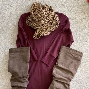 Express Sweatshirt Dress. Burgundy. Size S.